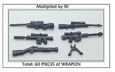 60 PCS of GUNMETAL WEAPON PACK - Rifle Shotgun for Lego Minifigure Soldier Guns