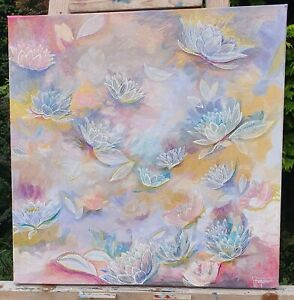 Original Flower Painting Contemporary Abstract Floral Pastel Colours Nature Lily