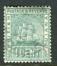 British Guyana; 1890 Clásico temprano corona CA problema usado valor 1 C.