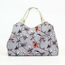 Grey Bird and Flower Print Oil Cloth Shopper Tote Baby Day Bag