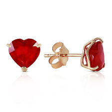 2.9 Carat 14K Solid Gold Stud Earrings Natural Heart Ruby
