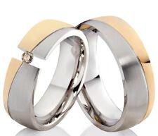 2 Eheringe Trauringe mit echtem Diamant Verlobungsringe aus Edelstahl ELB5