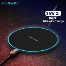 US 15W Qi Wireless Charger Charging Pad Mat For iPhone 11 XS Samsung S20 S10 S9