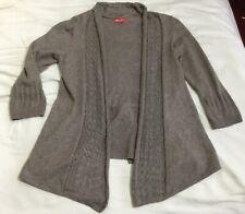MONSOON light brown Taupe Open Cardigan Crochet Trim Sz S 8-10 Angora Blend Soft