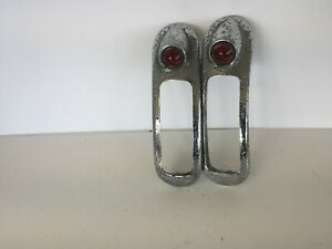 PAIR 1940 BUICK TAIL LIGHTS WITH BEAUTIFUL RED REFLECTORS, NICE ORIGINALS