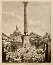 Rossini Engraving Column of Emperor Foca in Roman Forum, Rome 1819 1st State