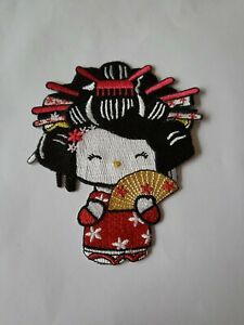 Kimono Girl Chinese Japan Iron On Patch Motif Fan Dress Ups 11cm x 9cm