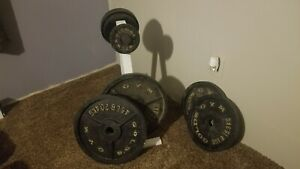 Golds gym vintage iron weight set 245lb, 2in.