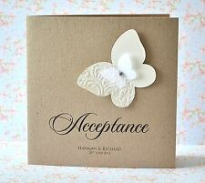 Personalised Wedding Acceptance or Regret card butterfly shabby chic