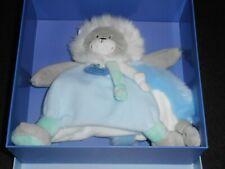 Doudou Plat Lion Carré Gris Blanc Vert Bleu Artik' Cool Doudou et Compagnie