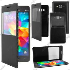 Housse Coque Etui S-View Flip Cover Noir Samsung Galaxy Grand Prime G530F G530FZ