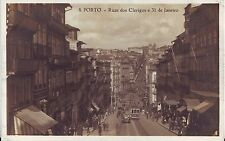 Portugal Porto - Ruas dos Clerigos e 31 de Janeiro old real photo sepia postcard