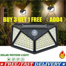 100 LED Solar Motion Sensor Security Lights Super Bright Waterproof Wall Lamp UK