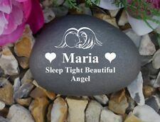 Personalised Pebble (Stone effect) Weatherproof - Memorial - Baby Angel