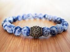 Handmade Semi Precious Stone Bracelet w/ Sodalite Beads & Antique Brass Charm