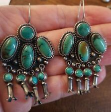 Federico Jimenez Large Turquoise Sterling Silver W/Squash Blossoms Earrings