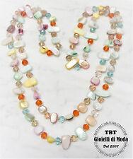 Collana Lunga Madreperla,perle,pietre Dure,cristalli da donna 36 colori m.colore