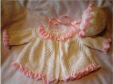 BABY OR REBORN RUFFLES AND LACE COAT & BONNET KNITTING PATTERN