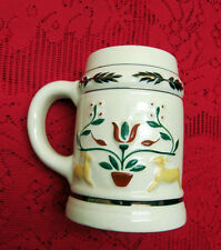VINTAGE RARE PENNSYLVANIA DUTCH POTTERIES STEIN TANKARD HANDPAINTED TULIP DEER