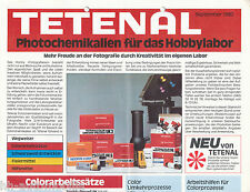 Prospekt Tetenal Fotochemikalien 9/80 brochure Broschüre Zubehör Fotolabor 1980