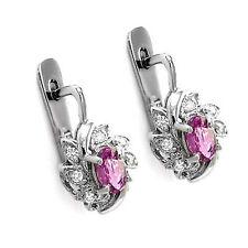 Russian style Pink Sapphire G-VS2 Diamond Earrings in 14k (585) White Gold