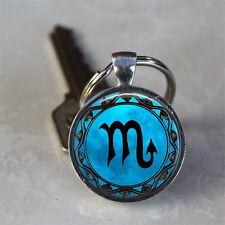 Scorpio Blue Moon Zodiac Symbol Astrology Glass Dome Keychain (GDKCPD0454)