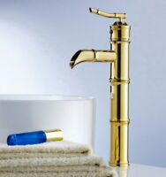 Gold Color Brass Bamboo Shape Single Hole Bathroom Vessel Sink Lavatory Faucet