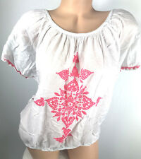 MAURICES Plus Size 1 Top 1X Embroidered Peasant Blouse White Pink bk