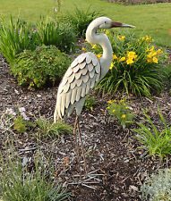 Egret Yard Art 3D Sculpture Heron Bird Metal Statue