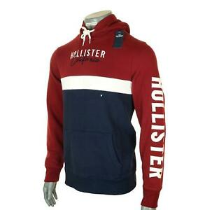 New Men's Hollister Hoodie Fleece Lined Embroidered Logo Sweatshirt M L XL 2XL