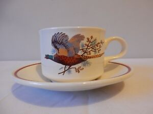 Great Biltons Cups and Saucers Pheasant Design x 4 Excellent