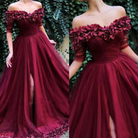 Burgundy Flowers Evening Dresses Off Shoulder Formal Pageant Dresses Prom Gowns