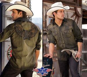 Westernhemd Hemd Herren Cowboy Country Adler Bikerhemd »DAVE« Oliv Stars&Stripes