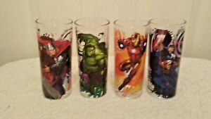 Set of 4 Marvel Comics Avengers 10 ounce Glasses Cups Drinking Collectible