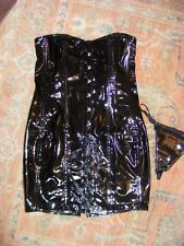 Approx Size 8/10,Faux Latex,PVC Glossy Thick Black Corset Dress,Lace up,NEW,Wet