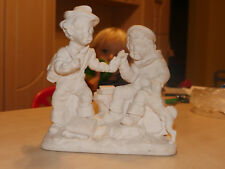 rare vintage white plaster statue of students trying to smoke sigar AB signed