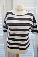 Mint Velvet Navy and White Striped Breton Cotton Jumper Short Sleeved - Size 14