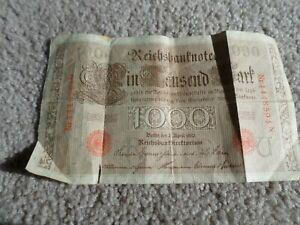 1910 Germany German Empire Large 1000 Mark Banknote RED SEAL Worn!