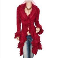 Women's Lace Ruffled Button-front Long Cardigan Sweater Overcoat Outwear Jacket