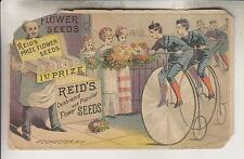 VINTAGE TRADE CARD - REID'S SEEDS - ROCHESTER NY - BICYCLES - NOT A REPRO