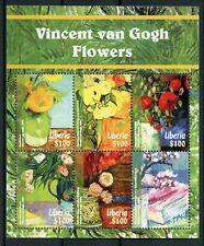 Liberia 2015 MNH Vincent Van Gogh Flowers Sunflowers 6v M/S Art Paintings Stamps