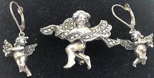 Judith Jack Cherub Pin& Earrinng Set Sterling Silver Marcasite Brooch Set 14.5g