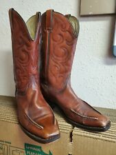 Vintage Wrangler Made In USA Brown Leather Worn In Cowboy Boot Men's Size 10 D