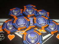 #10 Harley Davidson Motorcycles Poker Chips, Golf Ball Marker $100 EAGLE HD Logo