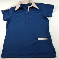 King Louie Vintage Bowling Shirt size 38 Blue 3 Button Single Pocket ADK