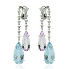 Aquamarine Amethyst Diamond Chandelier Earrings 14K White Gold Finish Clip on