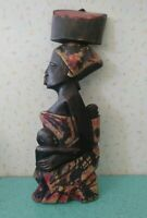 """Vintage African Wood Carving Woman Mother With Child 17.5"""" x 6.5"""""""
