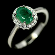 TOP EMERALD RING : Natürliche Grün Smaragd Ring Gr. 19 Sterlingsilber R273