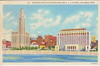 Ohio State Office Building & A.I.U. Citadel, Columbus, OH,  Linen  Postcard