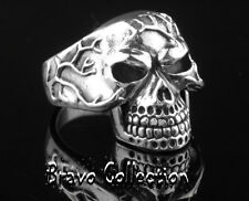 SIZE 10 Solid 925 Sterling Silver Movable Jaw SKULL New Bikers Men Ring R-192